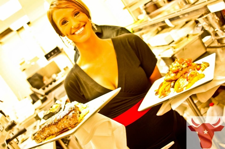 A lovely team member serving it up - Houston Style! @ #Houston Avenue Bar & Grill!