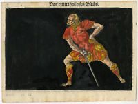 Antique Print-RAPIER-FENCING-SWORD-SOLDIER-Stimmer-1600