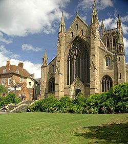 Worcester Cathedral, final resting place of Arthur Tudor, Prince of Wales. Arthur Tudor was the older brother of Henry VIII and Catherine of Aragon's first husband.