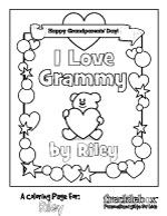i love grammy personalized coloring sheets