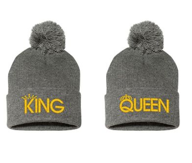 King and Queen – Matching Couples Beanies  ———————— accessories, caps, gift ideas, anniversary gift ideas, christmas gift, boyfriend…