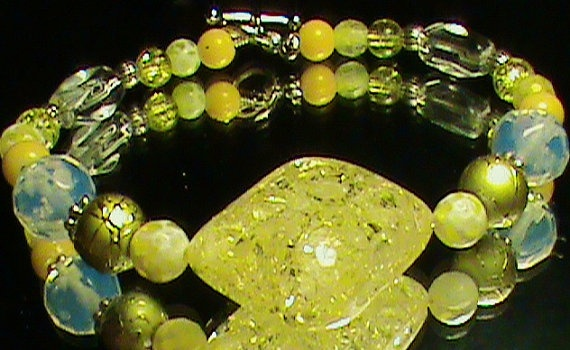 Yellow White & Silver Glass Bead Bracelet by JustAMomFromNH, $5.00