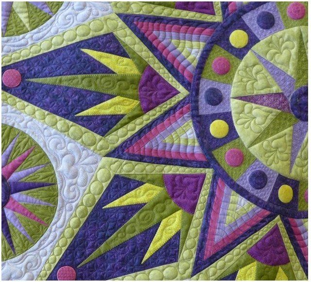 Detail of quilt by Gerri Smit using the Sedona Star pattern by Sarah Vedeler. It won Second Place Bed or Wallquilt Longarm/Midarm Quilted Quilt at the National Juried Show of Quilt Canada 'Wonders of Niagara' 2014. Congratulations to TQS Member, Threadz!
