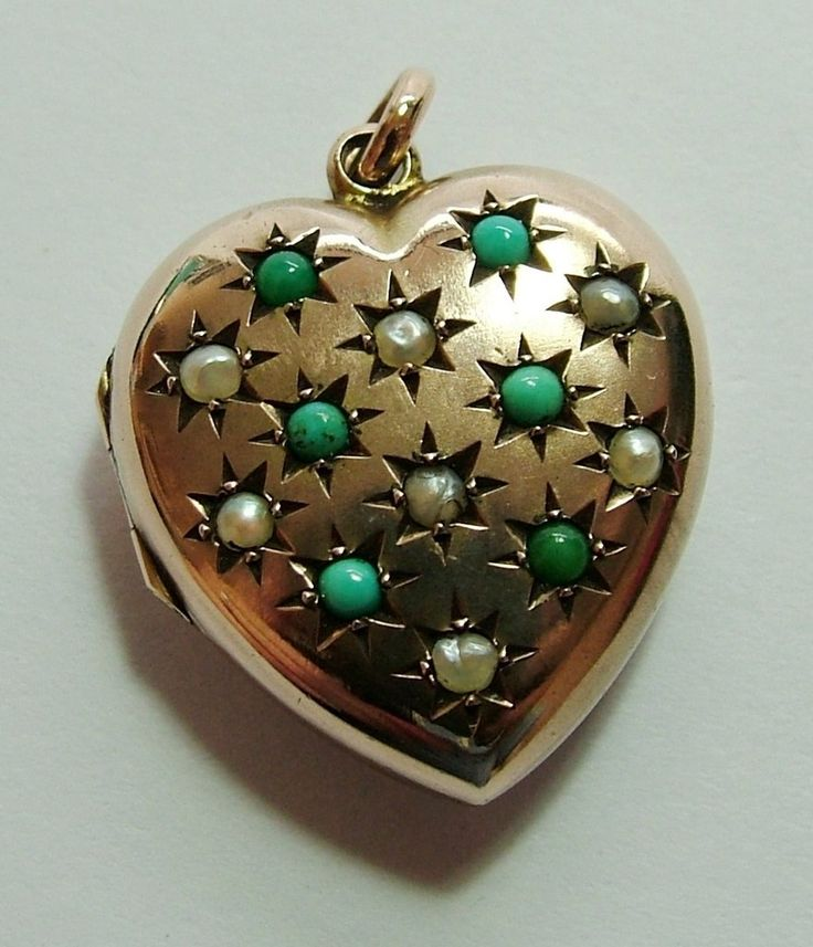 Victorian 9ct Rose Gold Back & Front Heart Locket Charm with Pearls & Turquoise