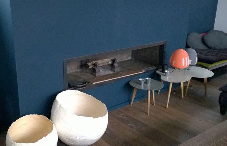 cheminée de salon à foyer ouvert Toulouse réalisation Cheminées iiio vue finie
