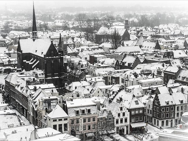 The ssnow covered city center of Utrecht, as a large part of The Netherlands has turned white overnight. Picture: AFP