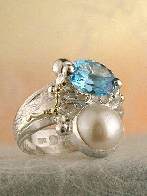 Gregory Pyra Piro #Konst #Smycken Sterlingsilver och Guld med Ädelstenar #Ring Nr. 6432