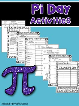 Pi Day Activities 8 Pages 1. KWL Chart 2. Pi Day Reading with 3 questions 3. Pi Day Alphabetical Order 4. Pi Day Dictionary Hunt 5. Pi Day Word Challenge 6. Pi Day Acrostic Poem 7. Pi-ku Poem 8. Making Words- I LOVE PI DAY