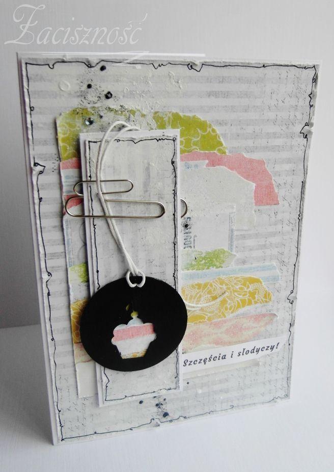 Ręcznie robiona kolorowa kartka z babeczką/ Handmade card with muffin