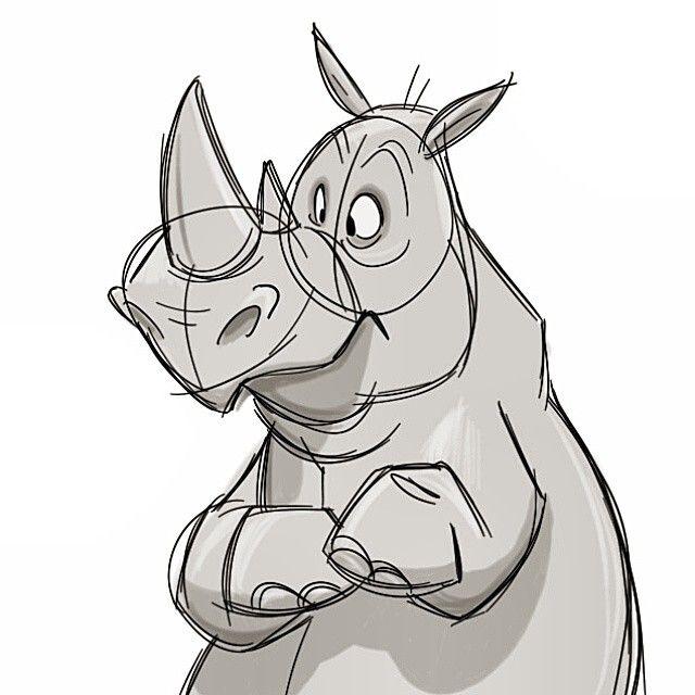 Rhino! #cartoon #sketch #rhino