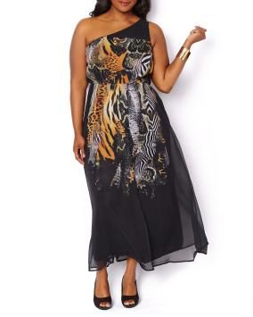 Printed One Shoulder Maxi Dress, it's perfect for a #summer #wedding #plussizedresses #Penningtons