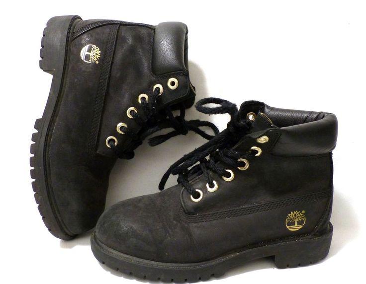 Timberland 6 Inch Premium Waterproof Black Suede Nubuck Boots Gold US13 Kids #Timberland #Boots