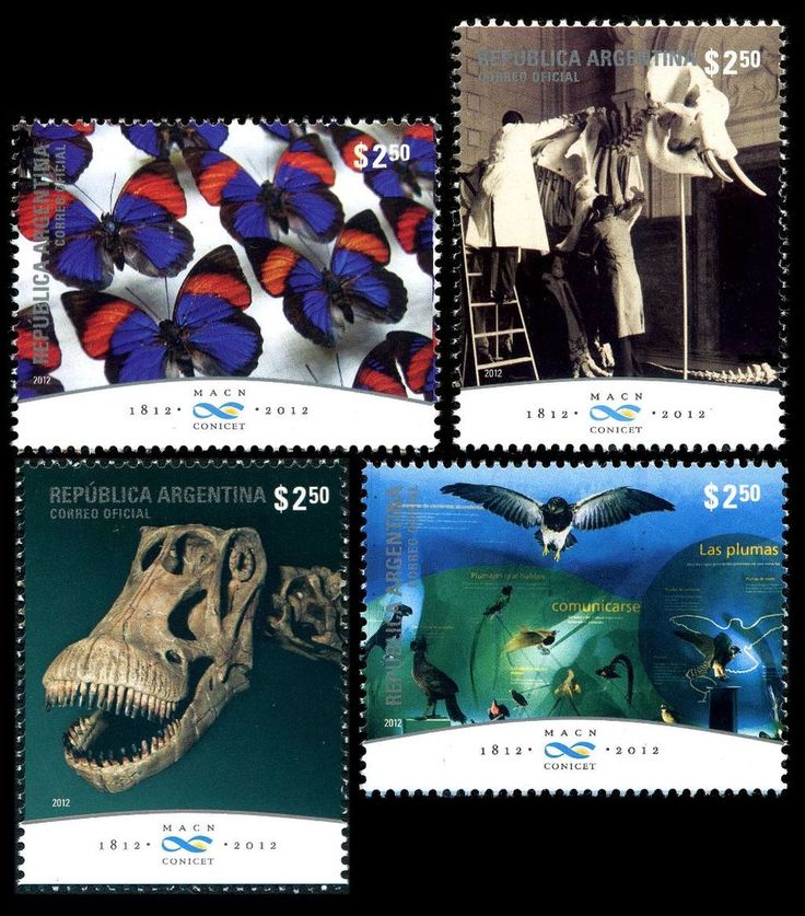 Argentina 2012. To commemorate the 200th Anniversary of The Bernardino Rivadavia Natural Sciences Museum. One of the stamps depicts the skeleton of Bonatitan, a genus of Titanosaurian dinosaur.