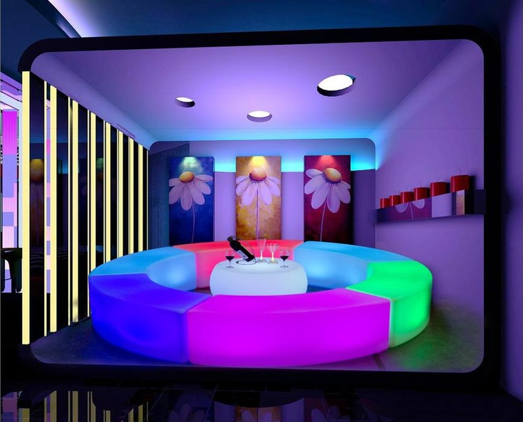 LED curved multicoloured bench