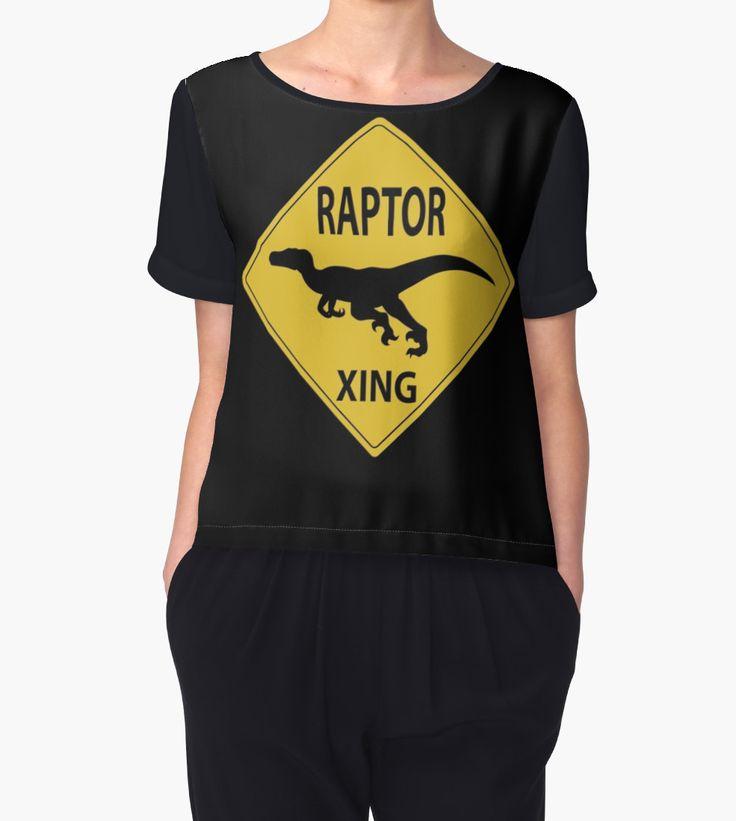 Raptor Xing Women's Chiffon Top #dinosaurs #jurassic #velociraptor #raptor  #sign