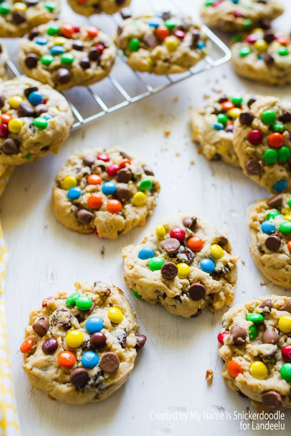 Monster Cookies Recipe - Delicious Cookies made from all of your favorite cookie ingredients! Mini M&Ms, Milk Chocolate Chips, Oatmeal and Raisins!