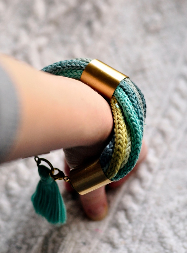 Braided bracelet MultiColor knot Brass fringe rope. zł180.00, via Etsy.