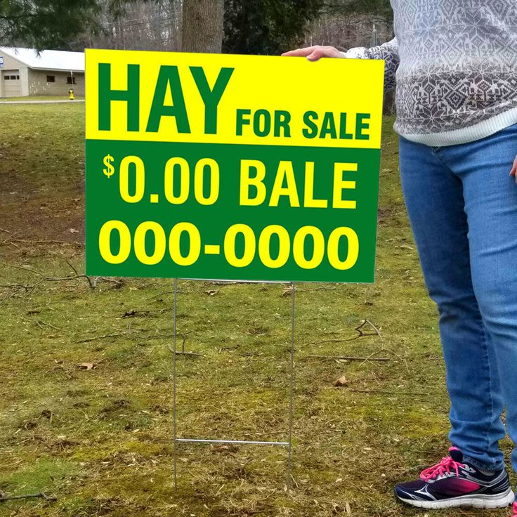 """Hay For Sale - Custom Made - Big 24X18 Two Sided Yard Sign W/Free 30"""" Stake"""