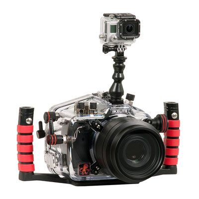 Ikelite DSLR Top Mount Kit for GoPro! Capture video while shooting stills. This mount kit is super lightweight, flexible, and includes everything you need to attach your GoPro to an Ikelite DSLR top mount. GoPro camera not included.