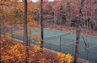 I played tennis today and the court was full of crunchy leaves.  I love tennis in the Fall!