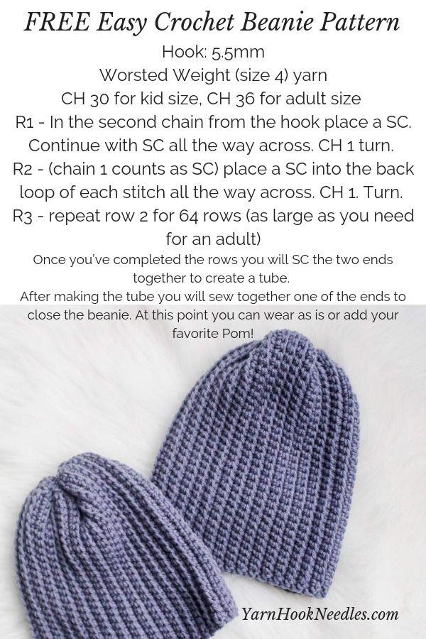Easy Crochet Beanie Pattern FREE | Crochet hats | Pinterest | Tejidos