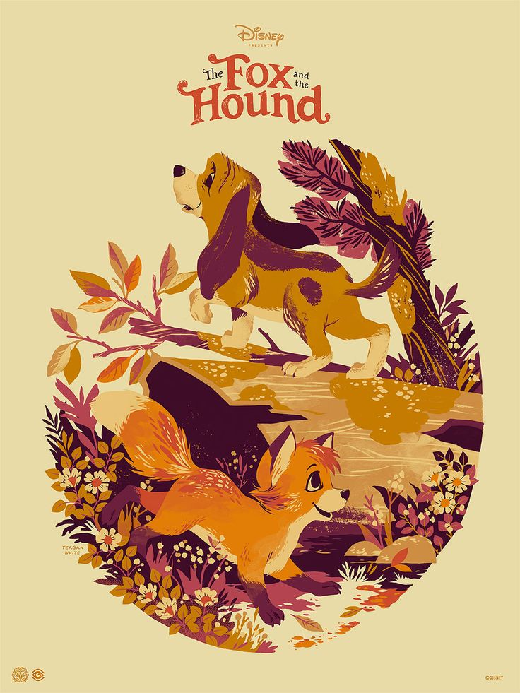 The Fox and the Hound (variant), by Teagan White #teaganwhite #thefoxandthehoundprint