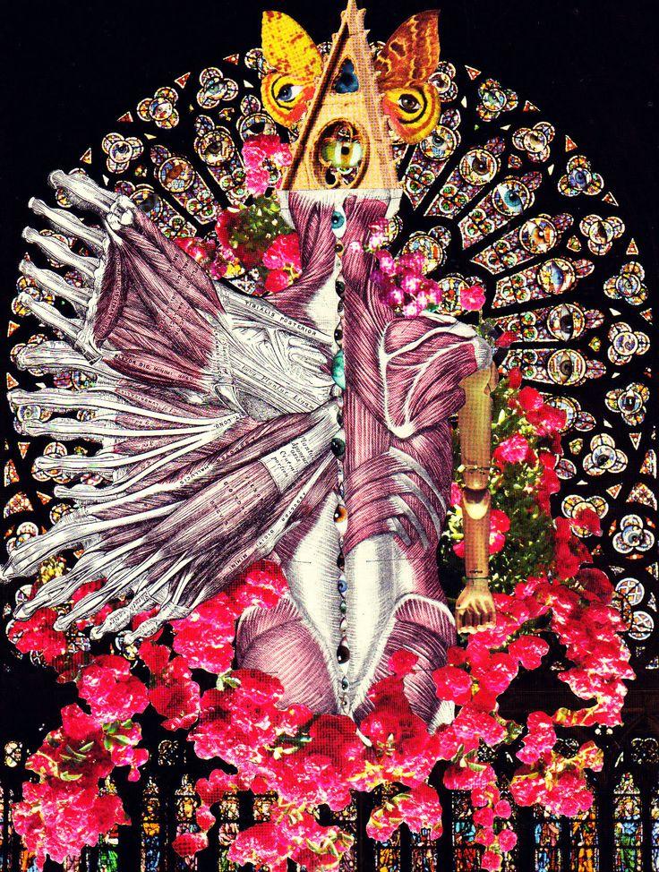 'The Angel Ocularmortem'  Analog collage art by Dystopian Paper Ballads.  #collage #collageart #analogcollage #paperart #handmade #surrealism #anatomy #anatomicalart #darkart