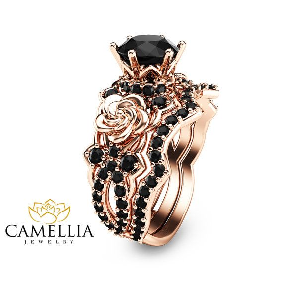 Black Diamond Gold Engagement Ring Set Unique by CamelliaJewelry