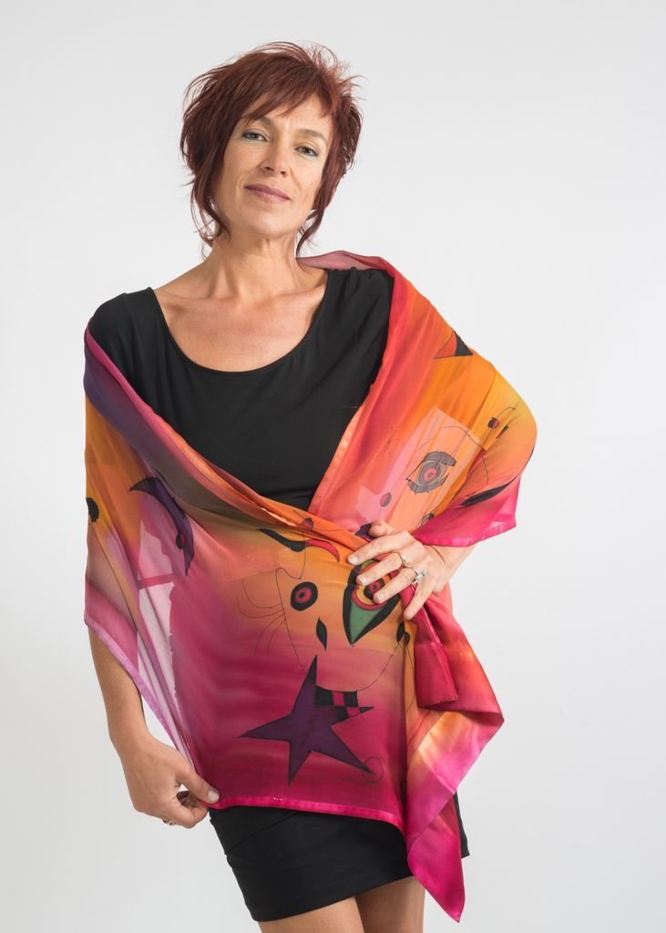 Stall Pink Miro - Hand painted silk scarf by Natasha Foucault, represented by Human Arts Gallery in Ojai, CA.
