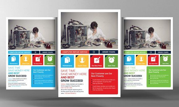 Computer Repair Flyers Bundle by Business Templates on - computer repair flyer template