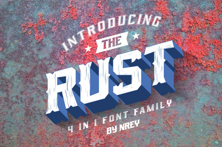 Rust Font  Rust is a serif display font family that comes in 4 versions: Rust Rust Spurs Rust Scratch Rust Sport This family is inspired by sport teams and features strong, bold typography.