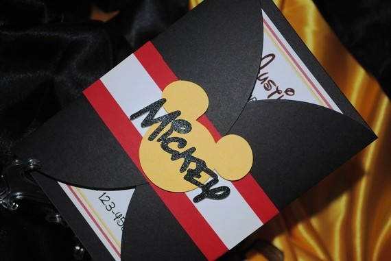 MICKEY MOUSE gate fold invitations set of 8 by threekidspartyshop, $30.00