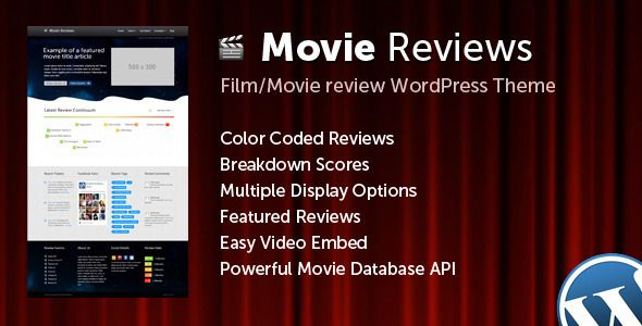 Movie Reviews   http://themeforest.net/item/movie-reviews/5417123?ref=damiamio        Set Up Screencast  Check out a screencast explaining how the demo content was set up – here.  Theme Description  Movie Reviews is the perfect theme for a movie review and news website. The theme comes packed with features which make it ideal for reviewing. TheMovieDB API makes it even easier to get movie details.   TheMovieDB API Integration – get cast info, cast biography, genre, actors, directors, release…