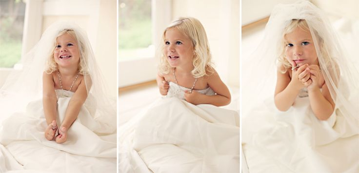 Baby girl in Mama's wedding dress!