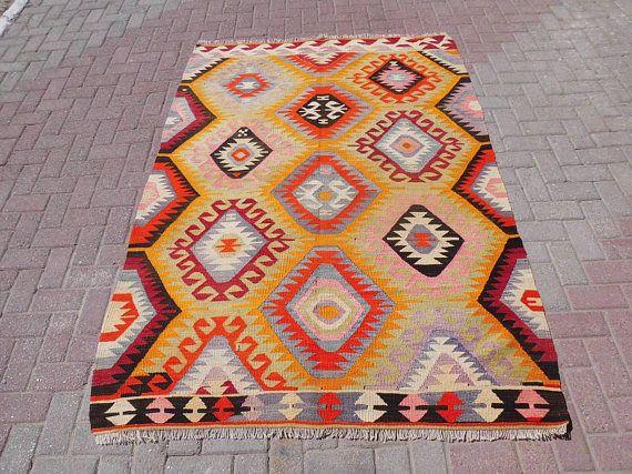 Handmade Vintage turkish kilim rug turkish rug colorful area