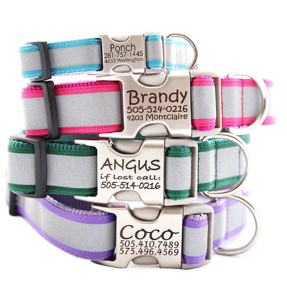 I need these for my babies!! Personalized Reflective Dog Collar - with Laser Engraved Buckle - 5 Colors to Choose From