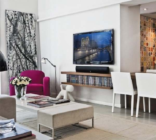 Minimalist TV room design on Contemporary Apartment Design Interior Modern in Brazil