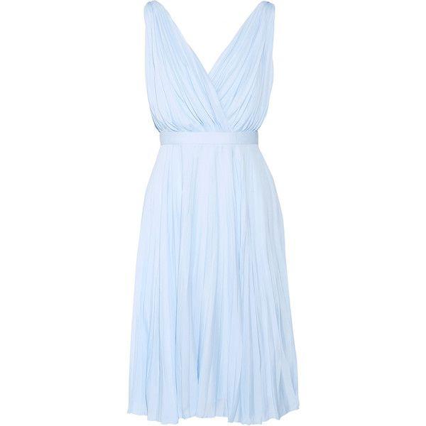 Prada Plissé crepe de chine dress ($3,260) ❤ liked on Polyvore featuring dresses, crepe de chine dress, blue dress, prada and prada dresses