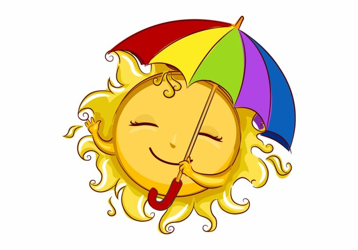 Cute summer sun with its sunbrella clip art emojis