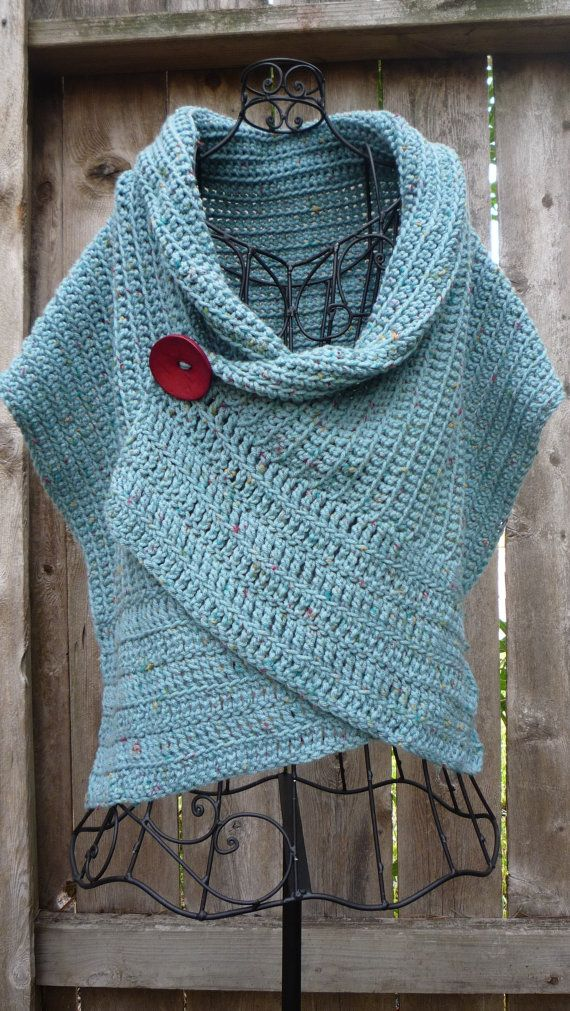 Pattern for buttoned crocheted wrap by redbootyarnworks on Etsy, $5.00: Red Buttons, Huge Buttons, Color, Buttons Crochet, Crochet Vest, Crochet Ponchos, Crochet Wraps, Crochet Patterns, Crochet Shawl