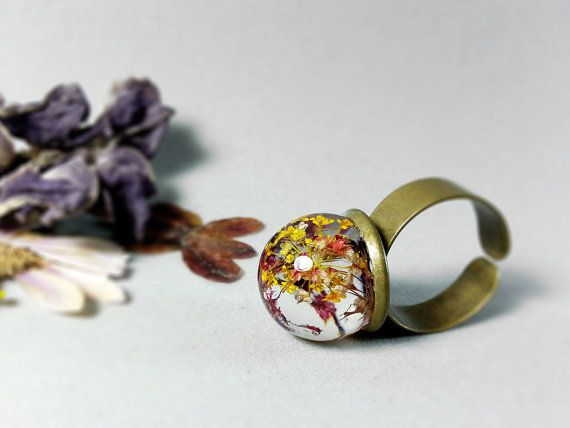 Queen Anne's Lace resin ring sphere ring pink flower by ByEmilyRay