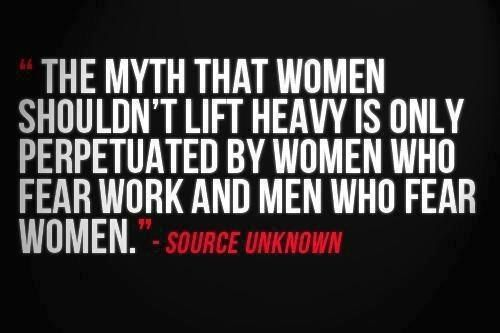 """Why is this myth being pushed so hard on women? I've heard this a thousand times. """"I don't want to bulk uuuuuppp!!!"""" Makes me want to smack people. DO YOU KNOW HOW HARD IT IS TO GAIN MUSCLE AND BULK UP? @Krista Frenzel understands."""