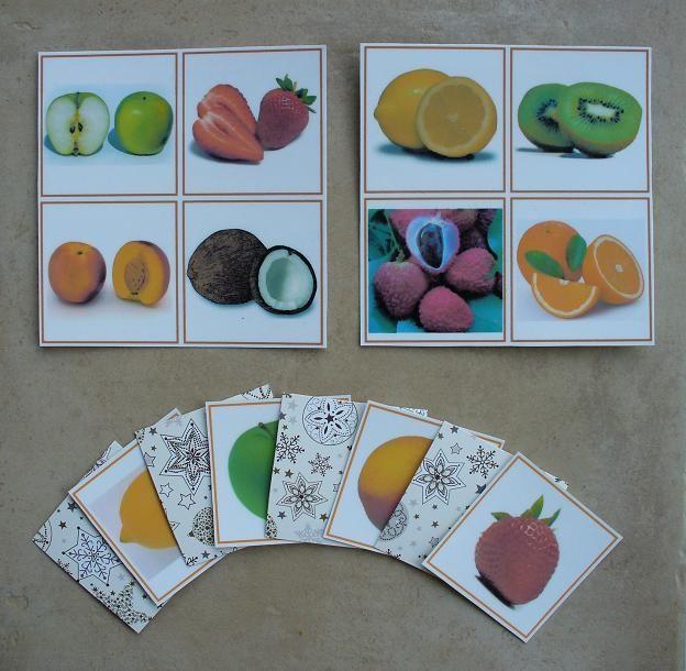 Un nouveau jeu sur nos étagères !   Il s'agit d'un loto, composé de 4 planches avec chacune 4 photos de fruits coupés, et de 16 cartes prése...