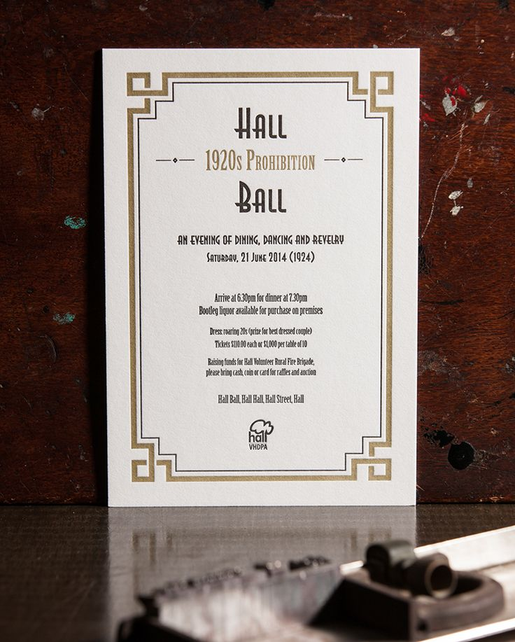 The 2014 Hall Ball letterpress invitation, designed and printed by Artforme.