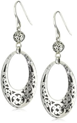 "Lois Hill ""Classics"" Large Cutout Ring Dangle Fishhook Earrings: Jewelry: Amazon.com"