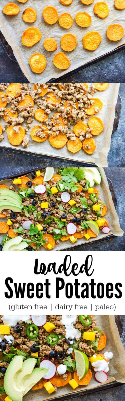 Dig into some healthy comfort food with these savory and satisfying Loaded Sweet Potatoes. Kind of like nachos but not. Loaded with all the things. Dairy free. Gluten free. Paleo. Whole30 compliant.