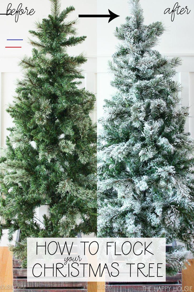 How To Flock A Christmas Tree The Happy Housie Christmastreeideas Today I M Sharing How I Gave An Inexpensive Fake Christmas Tree A I 2020 Jul Ideer Jul Ideer
