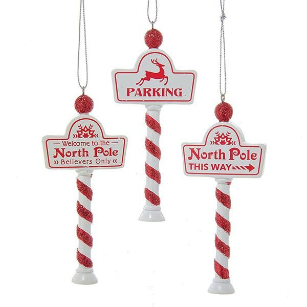 1 Set 3 Assorted North Pole Sign Christmas Ornaments