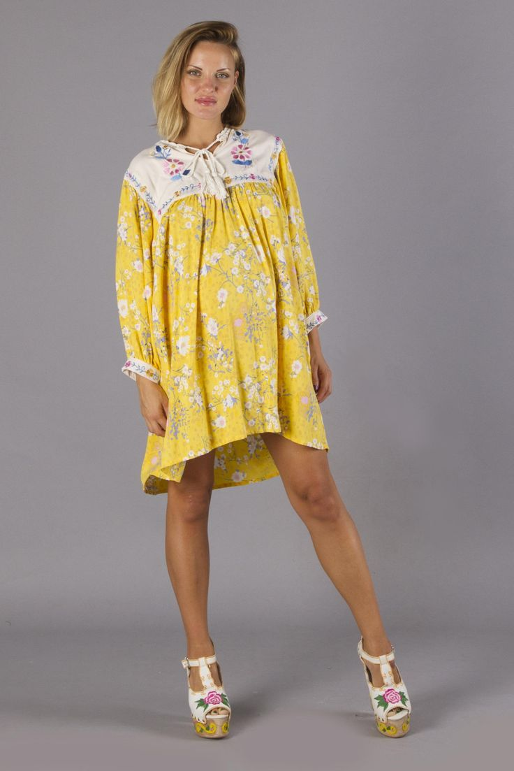 """Happy Little Tulip"" Sunflower Yellow - Floral embroidered maternity smock dress Fillyboo - Boho inspired maternity clothes online, maternity dresses, maternity tops and maternity jeans."