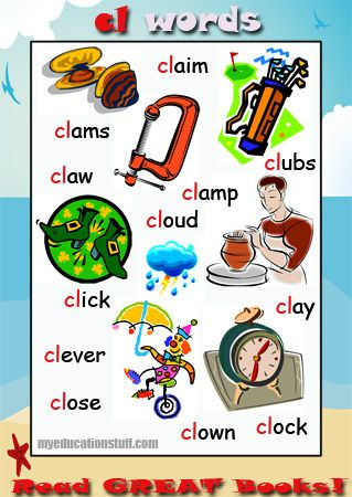 cl word list - words starting with cl -  Nice phonics poster for your Word Wall, the fridge or the back of the bathroom door.